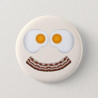 Bóton Redondo 5.08cm Ovos e botão sorrir forçadamente do bacon
