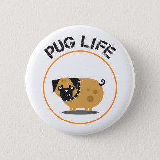 Bóton Redondo 5.08cm Padrão da vida do Pug, botão redondo da polegada