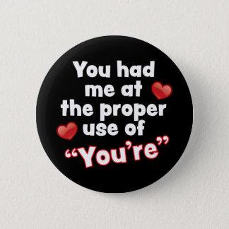 Bóton Redondo 5.08cm Padrão do amor da gramática, botão redondo da