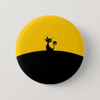 Bóton Redondo 5.08cm Padrão do gato preto, botão redondo da polegada de