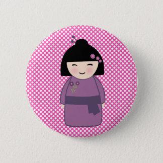 Bóton Redondo 5.08cm Padrão do rosa da boneca de Kokeshi, botão redondo