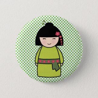 Bóton Redondo 5.08cm Padrão do verde da boneca de Kokeshi, botão