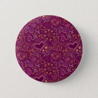Bóton Redondo 5.08cm Padrão dos corações, botão redondo da polegada de
