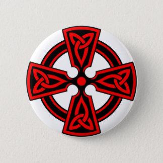 Bóton Redondo 5.08cm pagan saxão vermelho do wicca de viquingue da cruz