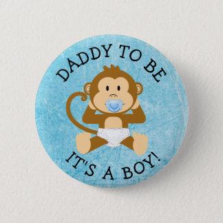 Bóton Redondo 5.08cm Pai a ser seu um botão do chá de fraldas do macaco