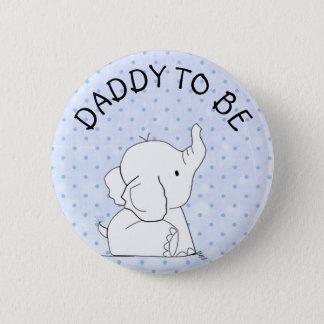 Bóton Redondo 5.08cm Pai azul do Pin do chá de fraldas do elefante a