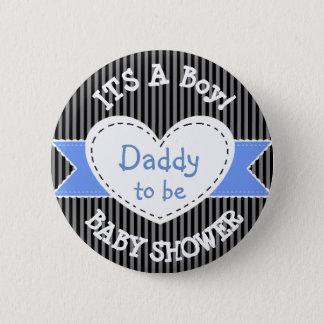 Bóton Redondo 5.08cm Pai listrado azul do botão do chá de fraldas a ser