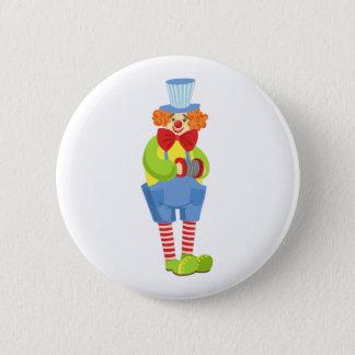 Bóton Redondo 5.08cm Palhaço amigável colorido com acordeão diminuto
