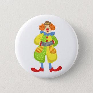 Bóton Redondo 5.08cm Palhaço amigável colorido que joga o acordeão na