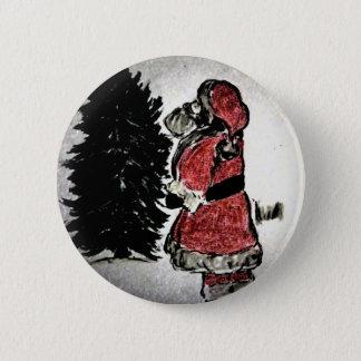 Bóton Redondo 5.08cm Papai Noel & árvore