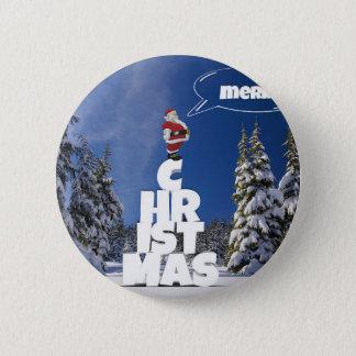 Bóton Redondo 5.08cm Papai noel do favor das letras do Feliz Natal