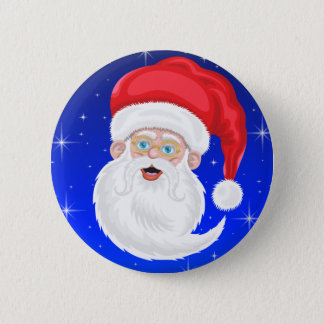 Bóton Redondo 5.08cm Papai Noel e estrelas