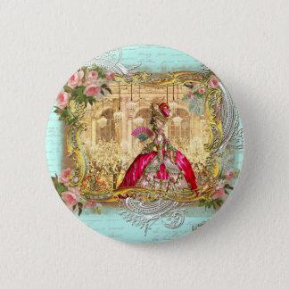 Bóton Redondo 5.08cm Partido de Marie Antoinette em Versalhes no Aqua