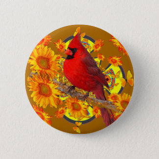 Bóton Redondo 5.08cm pássaro cardinal vermelho