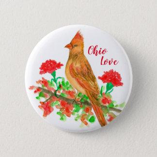 Bóton Redondo 5.08cm Pássaro de estado cardinal fêmea do amor de Ohio