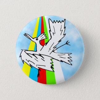 Bóton Redondo 5.08cm Pássaro do guarda-chuva da dança em um arco-íris