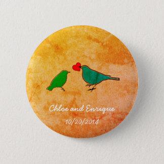 Bóton Redondo 5.08cm Pássaros e casamento da aguarela do coração do