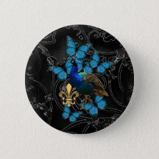 Bóton Redondo 5.08cm Pavão elegante e borboletas azuis no preto
