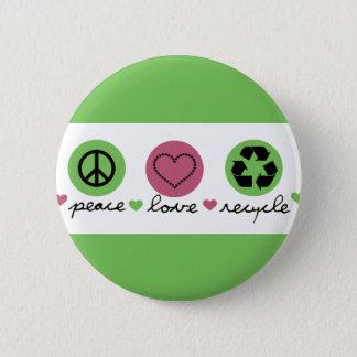 Bóton Redondo 5.08cm Paz, amor, reciclar