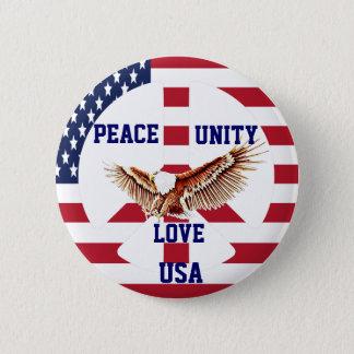 Bóton Redondo 5.08cm Paz, unidade, amor, USA_Button