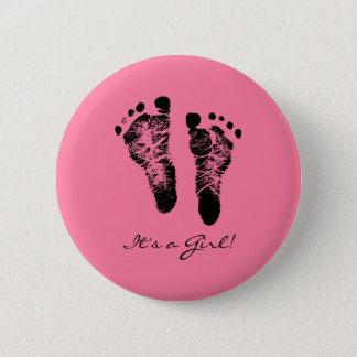 Bóton Redondo 5.08cm Pegadas bonitos do bebê do rosa e do preto suas