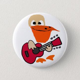 Bóton Redondo 5.08cm Pelicano engraçado que joga a arte da guitarra