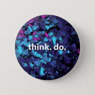 Bóton Redondo 5.08cm Pense. Faça. Botão azul do mosaico