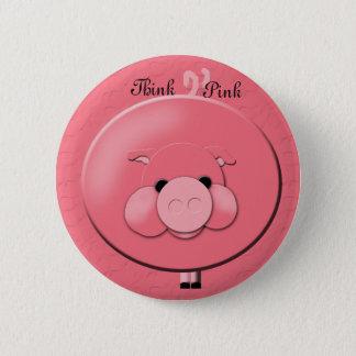 Bóton Redondo 5.08cm Pense o botão cor-de-rosa