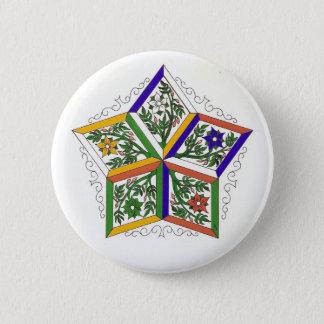 Bóton Redondo 5.08cm Penta-Estrela no Pin das flores