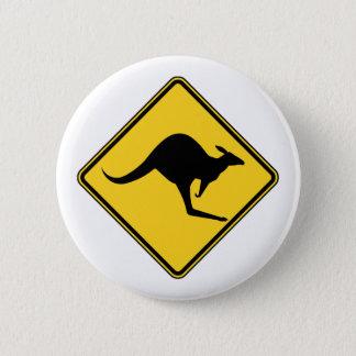 Bóton Redondo 5.08cm perigo de advertência do canguru no dia de