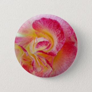 Bóton Redondo 5.08cm pétalas cor-de-rosa amarelas