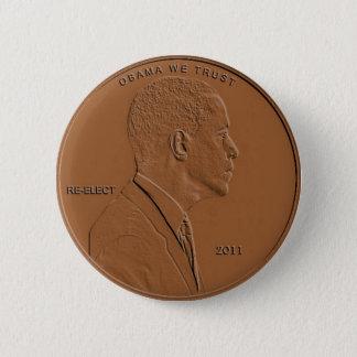 Bóton Redondo 5.08cm Pin 2011 do botão da moeda de um centavo de Barack