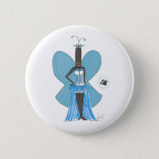 Bóton Redondo 5.08cm Pin azul Pastel da forma do plissado da