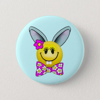 Bóton Redondo 5.08cm Pin bonito do smiley face do coelho da menina