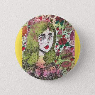 Bóton Redondo 5.08cm Pin do amarelo da menina da tulipa