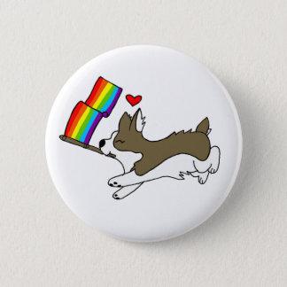 Bóton Redondo 5.08cm Pin do Corgi do orgulho gay