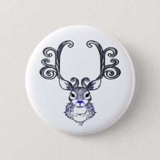 Bóton Redondo 5.08cm Pino azul do botão dos cervos da rena do nariz de