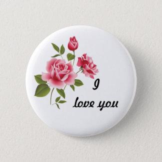 Bóton Redondo 5.08cm Pino cor-de-rosa romântico dos rosas