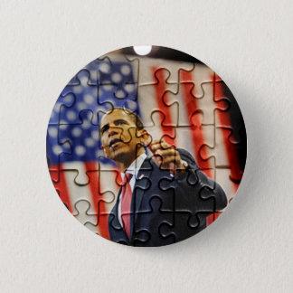 Bóton Redondo 5.08cm Pino da parte do quebra-cabeça de Obama
