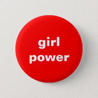 Bóton Redondo 5.08cm pino vermelho e branco feminista do poder da