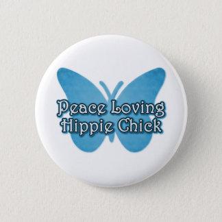 Bóton Redondo 5.08cm Pintinho pacifista do Hippie