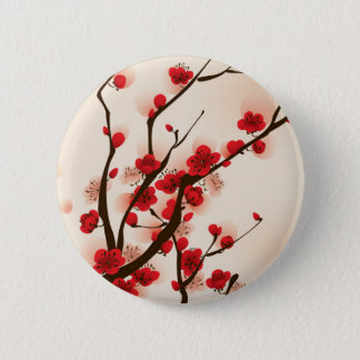 Bóton Redondo 5.08cm Pintura asiática do estilo, flor da ameixa no