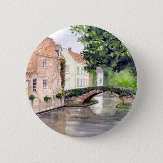 Bóton Redondo 5.08cm Pintura da aguarela de Bruges pelo Greenfield de