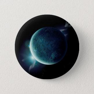 Bóton Redondo 5.08cm planeta verde no universo com aura e estrelas