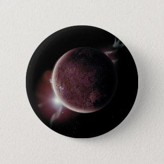 Bóton Redondo 5.08cm planeta vermelho no universo com aura e estrelas