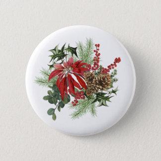 Bóton Redondo 5.08cm poinsétia moderna do feriado do vintage floral