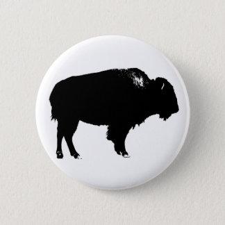 Bóton Redondo 5.08cm Pop art preto & branco da silhueta do búfalo do