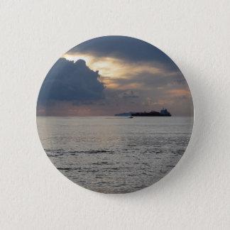 Bóton Redondo 5.08cm Por do sol morno do mar com navio de carga e um
