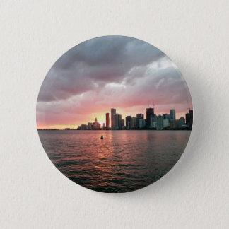 Bóton Redondo 5.08cm Por do sol sobre Miami