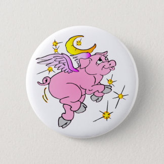 Bóton Redondo 5.08cm Porco cor-de-rosa #003 do vôo